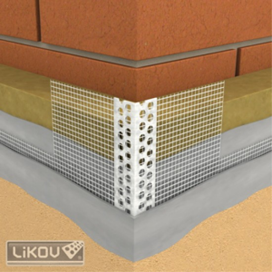 Colţar PVC cu plasă 10/10cm EUROGLASS , 2,5m/buc